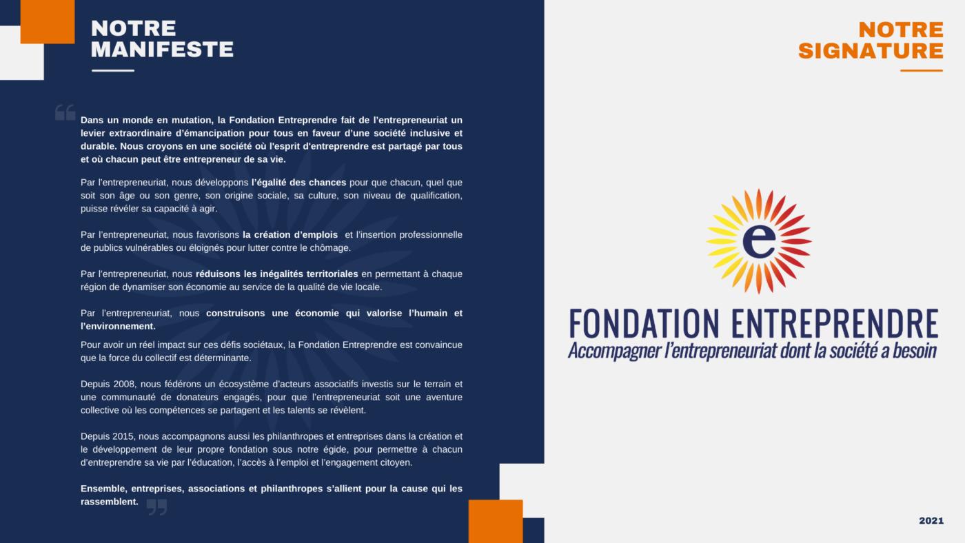 Le Manifeste de la Fondation Entreprendre